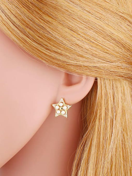 CC Brass Cubic Zirconia Star Vintage Stud Earring 1
