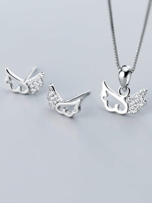 Rosh 925 Sterling Silver Cubic Zirconia Wing Minimalist Necklace 1