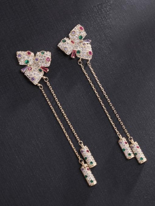 Luxu Brass Cubic Zirconia Butterfly Tassel Trend Drop Earring 1