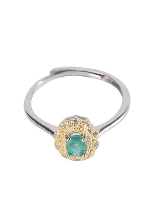 DEER 925 Sterling Silver Emerald Geometric Vintage Band Ring 0