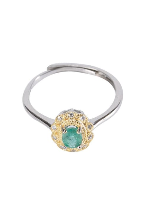 DEER 925 Sterling Silver Emerald Geometric Vintage Band Ring