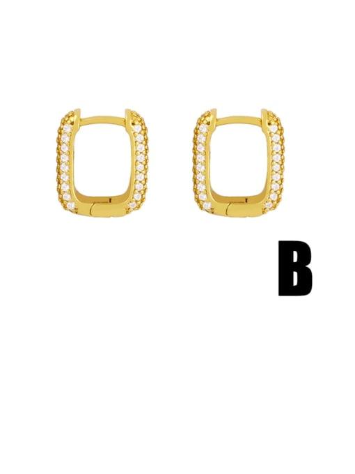 B Brass Cubic Zirconia Geometric Trend Huggie Earring