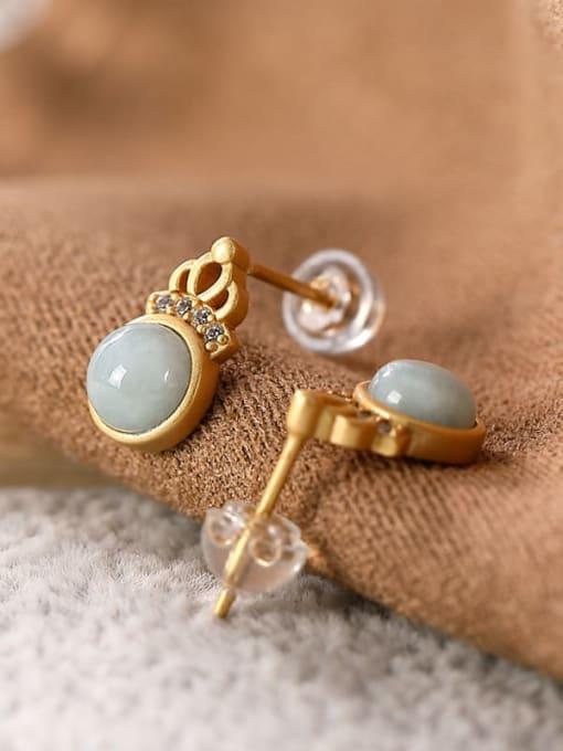 DEER 925 Sterling Silver Jade Crown Cute Stud Earring 3