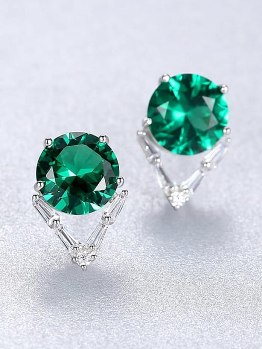 Green 23C06 925 Sterling Silver Cubic Zirconia Geometric Minimalist Stud Earring
