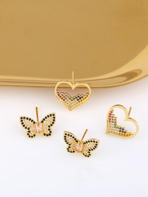 CC Brass Cubic Zirconia Heart Vintage Stud Earring 3