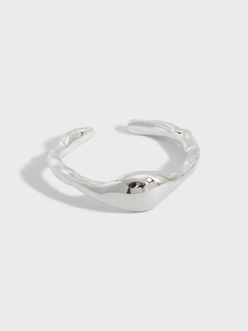 DAKA 925 Sterling Silver Smooth Geometric Minimalist Band Ring 0