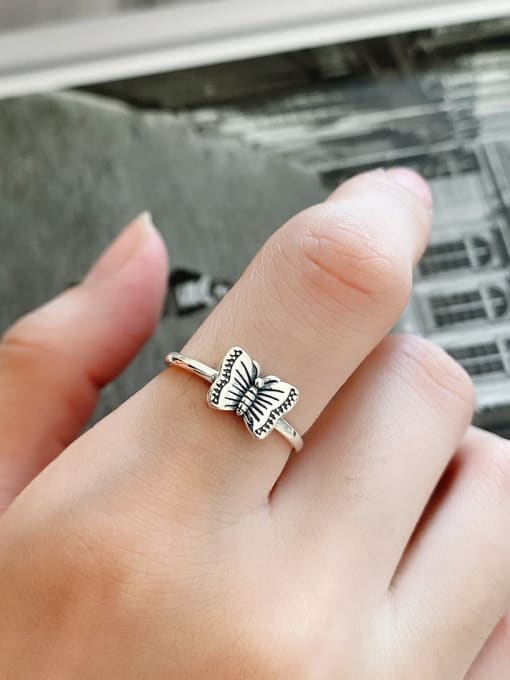 Boomer Cat 925 Sterling Silver Butterfly Minimalist Band Ring 0