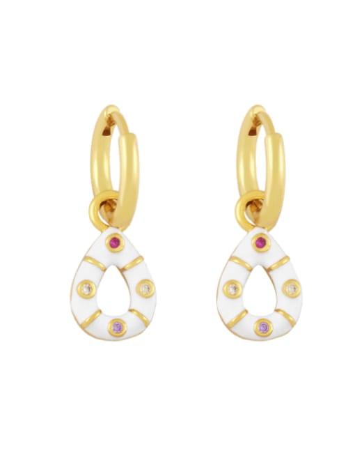 white Brass Rhinestone Enamel Water Drop Vintage Huggie Earring