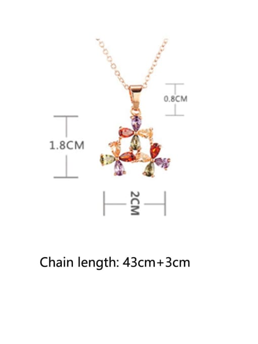 DUDU Brass Cubic Zirconia Multi Color Flower Dainty Necklace 2
