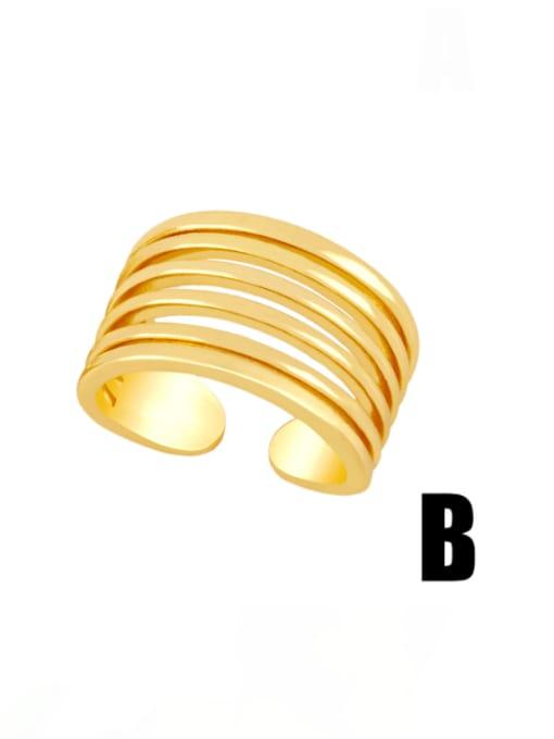 B Brass Smooth Geometric Vintage Band Ring