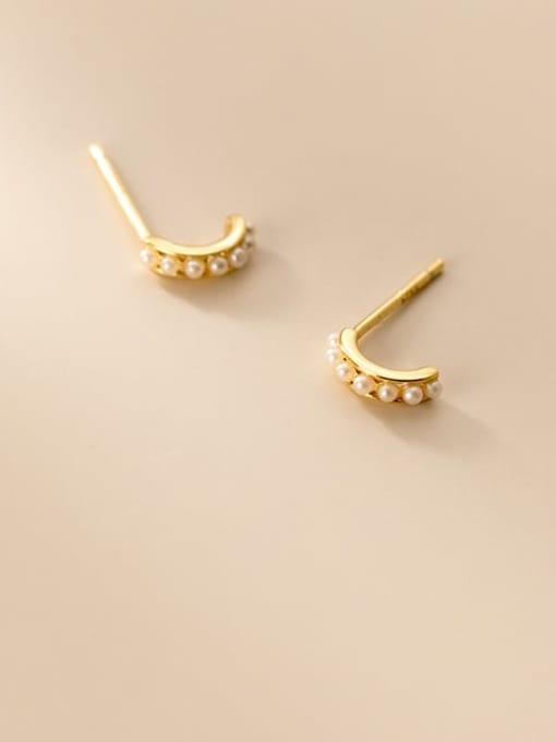 Rosh 925 Sterling Silver Imitation Pearl Geometric Minimalist Stud Earring