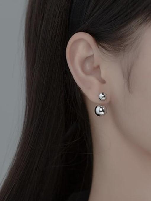 Rosh 925 Sterling Silver Bead Round Minimalist Stud Earring 1