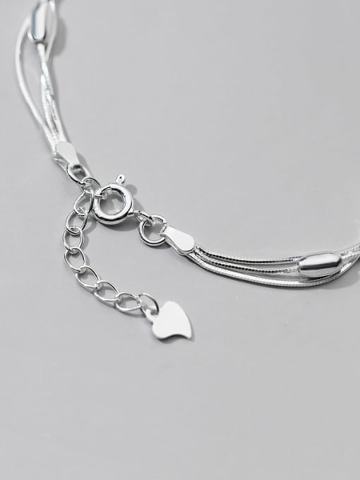 Rosh 925 Sterling Silver Round Minimalist Strand Bracelet 3
