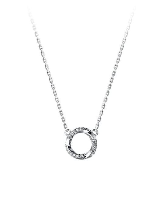 Rosh 925 Sterling Silver Rhinestone Geometric Minimalist Necklace 4