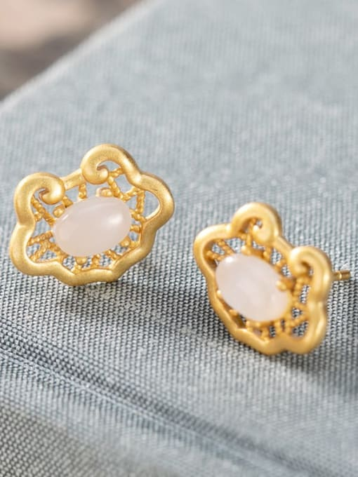 White jade (a pair) 925 Sterling Silver Jade Irregular Vintage Stud Earring