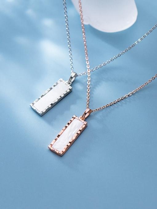 Rosh 925 Sterling Silver Shell Geometric Minimalist Pendant Necklace 2