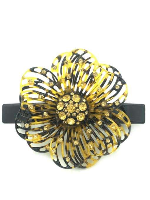 Hawksbill shell Cellulose Acetate Cute Flower Zinc Alloy Rhinestone Spring Hair Barrette