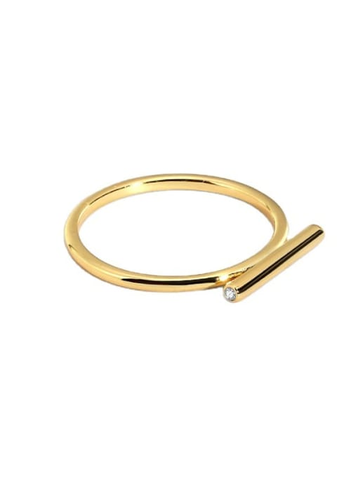 CHARME Brass Smooth Geometric Minimalist Band Ring 4