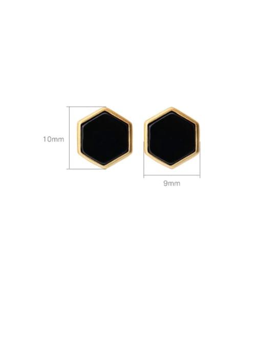 DEER 925 Sterling Silver Black Jade Geometric Minimalist Stud Earring 3