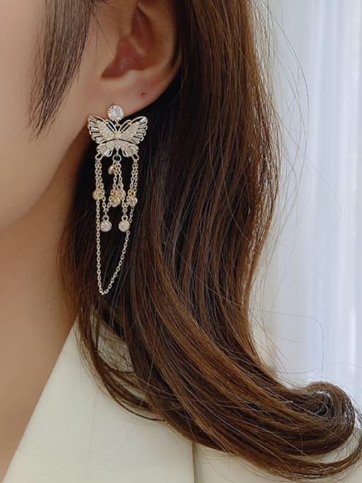 Luxu Brass Cubic Zirconia Butterfly Ethnic Drop Earring 3