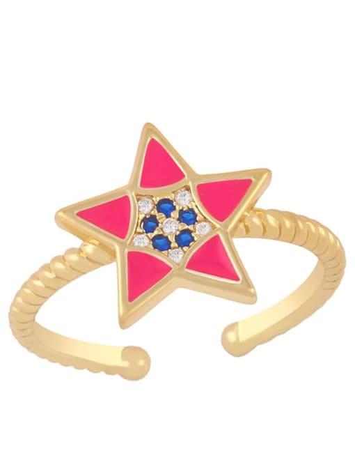 CC Brass Enamel Star Minimalist Band Ring 3