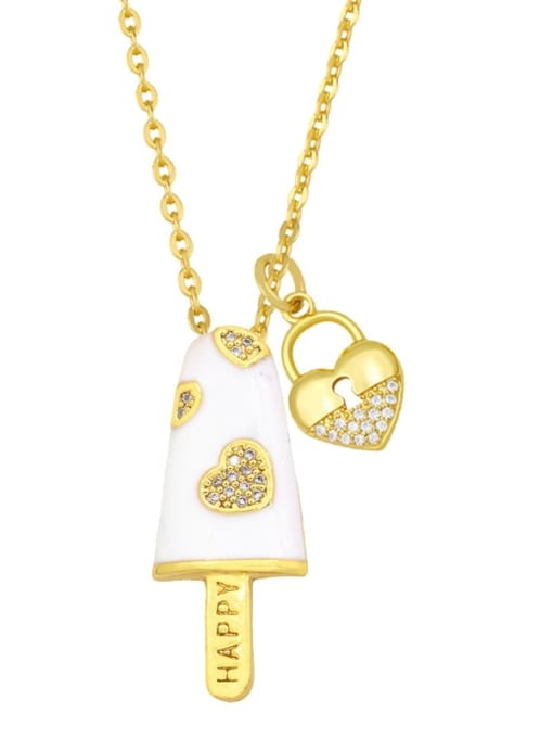 white Brass Cubic Zirconia Enamel Heart Minimalist Necklace