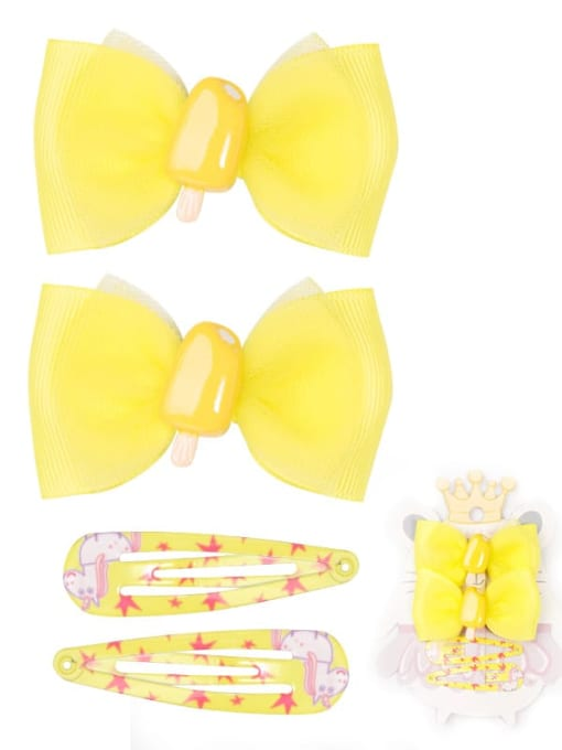 9 lemon yellow Ice Cream Set Alloy Yarn Cute Bowknot  Multi Color Hair Barrette