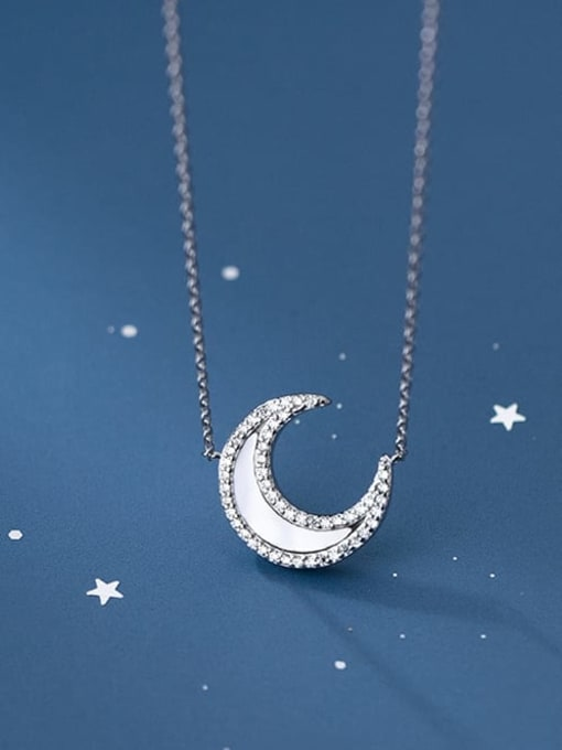 Rosh 925 Sterling Silver Shell Moon Minimalist Necklace 1