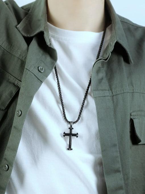 Open Sky Titanium Steel Cross Minimalist Necklace 1