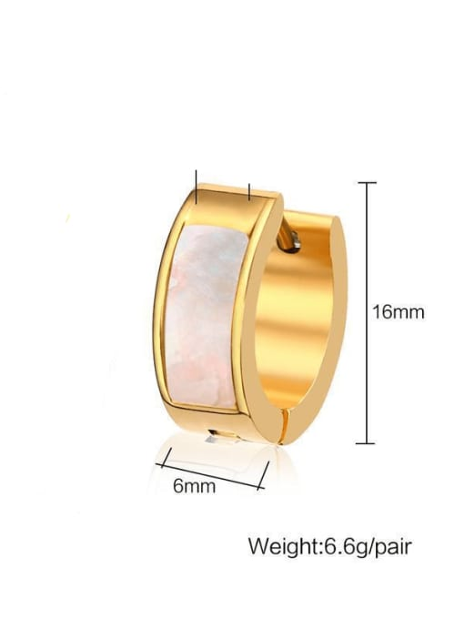 CONG Stainless steel Shell Round Minimalist Huggie Earring 3