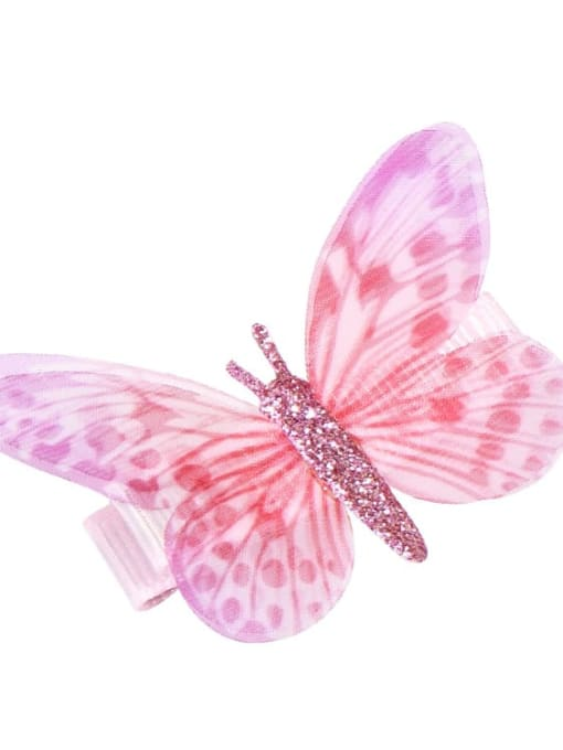 2 Alloy Fabric Cute Butterfly  Multi Color Hair Barrette