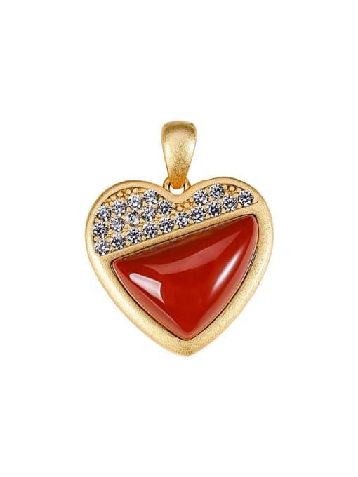 DEER 925 Sterling Silver Carnelian Minimalist Heart Pendant 0