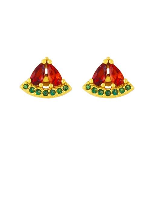 CC Brass Rhinestone Friut Cute Stud Earring 1