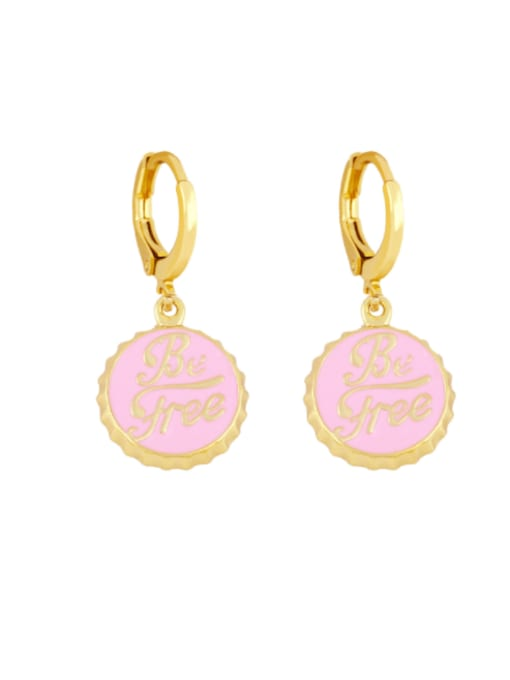 Pink Brass Enamel Round Letter Vintage Huggie Earring