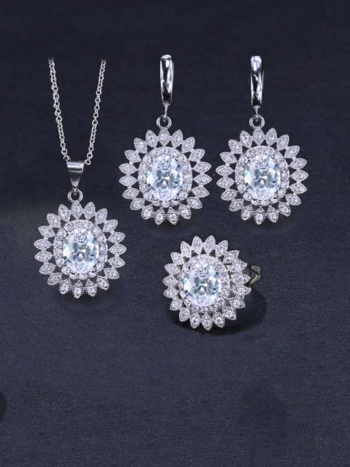 White Ring Size 9 Brass Cubic Zirconia  Dainty Geometric Earring Ring and Necklace Set