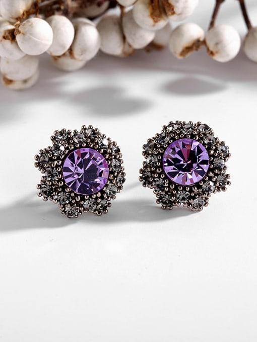 Purple Diamond Brass Cubic Zirconia Flower Vintage Stud Earring