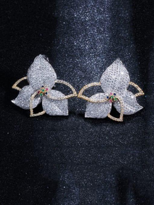 L.WIN Brass Cubic Zirconia Flower Luxury Stud Earring 3