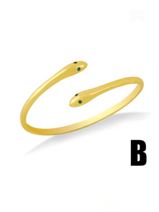 B Brass Cubic Zirconia Snake Vintage Cuff Bangle