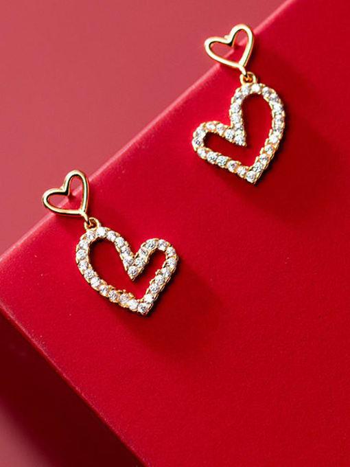 Rosh 925 Sterling Silver Cubic Zirconia Heart Minimalist Drop Earring
