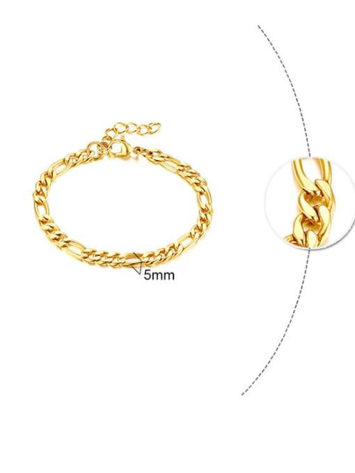 Gold 5mm Titanium Steel Geometric Minimalist Link Bracelet