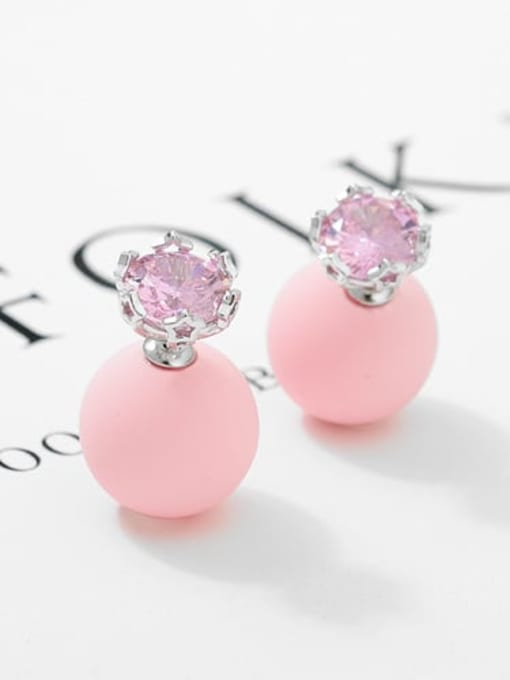 Light Pink Pearl Platinum t03b15 Copper Cubic Zirconia Geometric Minimalist Stud Earring