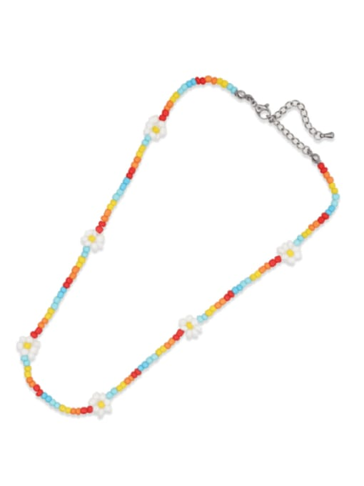 QT N210014A Stainless steel Bohemia Flower Bead Multi Color Bracelet and Necklace Set
