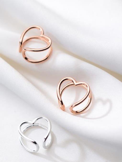 Rosh 925 Sterling Silver Heart Minimalist Clip Earring 1