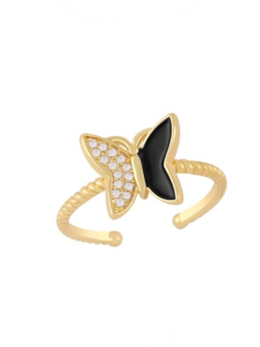 black Brass Enamel Rhinestone Butterfly Minimalist Band Ring