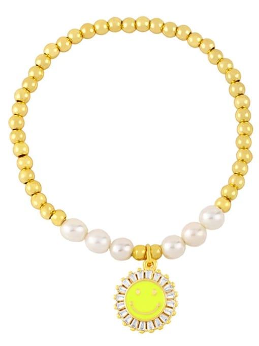 CC Brass Imitation Pearl Enamel Smiley Trend Beaded Bracelet 4