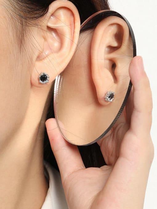 DAKA 925 Sterling Silver Cubic Zirconia Geometric Hip Hop Stud Earring 2