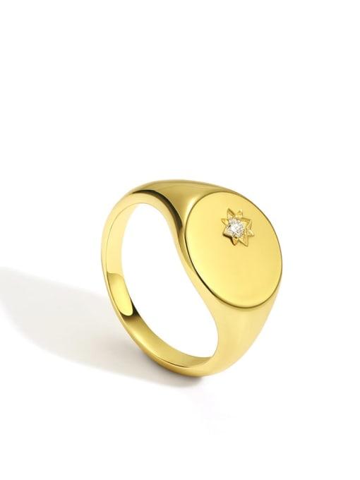 Gold Brass Rhinestone Geometric Minimalist Band Ring