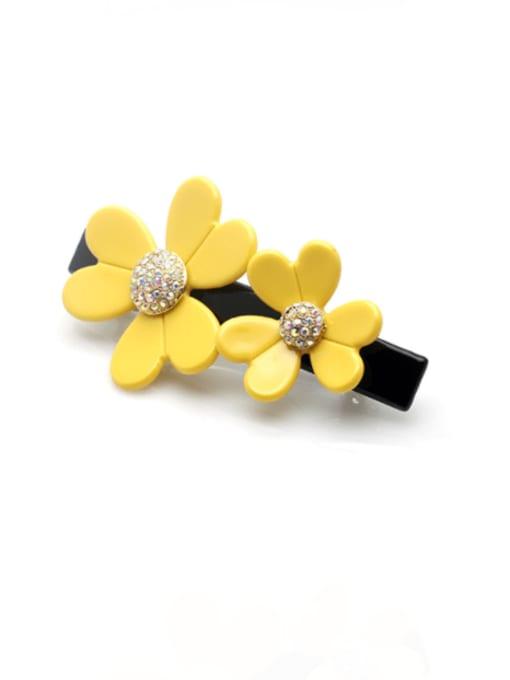 yellow Cellulose Acetate Cute Flower Zinc Alloy Rhinestone Hair Barrette