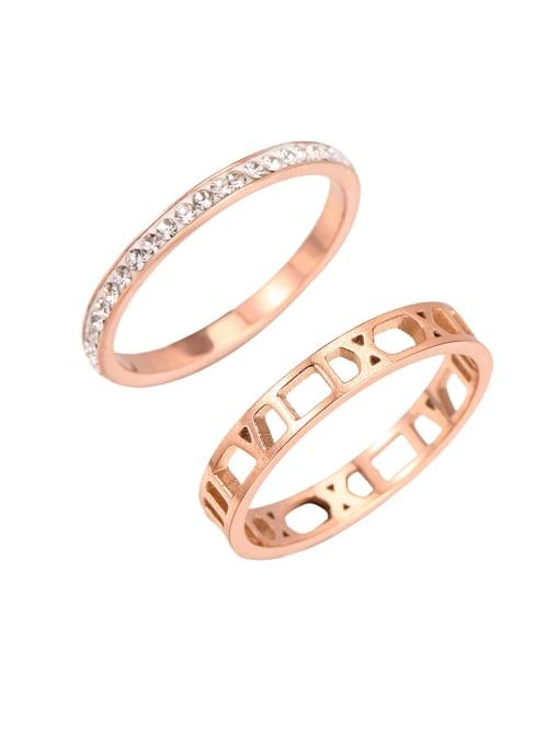 rose gold Titanium Steel Rhinestone Geometric Minimalist Band Ring