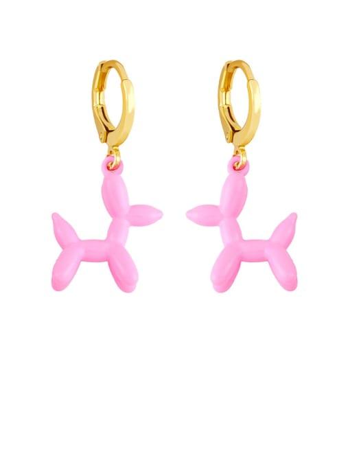 Pink Brass Enamel Dog Cute Huggie Earring